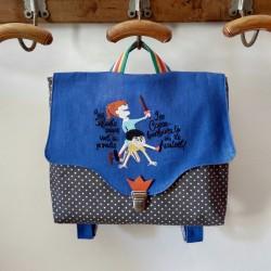 Cartable fait main casse-bonbons maternelle  primaire Vintage tissu fabrication française jean original personnalisé