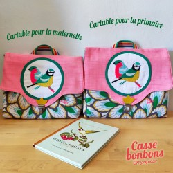 Cartable casse-bonbon fait main jolie broderie  primaire, école maternelle made in France rentrée scolaire back to school kids