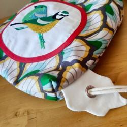 sac à goûter crèche maternelle artisanal tissu oiseaux cadeau fait main sac à dos tissu enfant backpack child personnalisé
