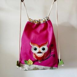 sac à dos sac à goûter maternelle fille rose hiboux tissu crèche artisanal casse-bonbons enfant cadeau maternelle personnalisé