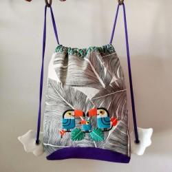 sac à goûter crèche maternelle créateur artisanal tissu toucan tropical cadeau naissance fait main sac à dos tissu enfant