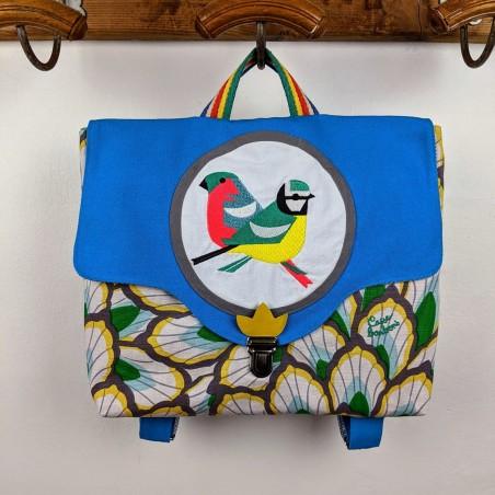 Cartable Casse-bonbons hand made maternelle école primaire broderie oiseaux poésie feuillage bleu original garçon