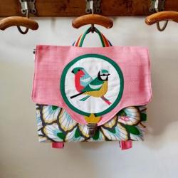Cartable Casse-bonbons hand made maternelle école primaire broderie oiseaux poésie feuillage rose fille créateur artisanal