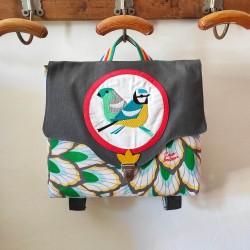 Cartable Casse-bonbons hand made maternelle école primaire belle broderie oiseaux poésie feuillage gris créatif
