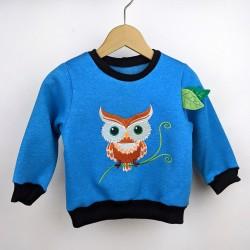 Sweat shirt enfant  made in France hiboux bleu artisanal création garçon