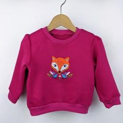 Sweat-shirt fille enfant broderie renard framboise artisanal créateur made in France