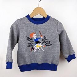 Sweat-shirt artisanal bébé fabrication française broderie vintage original humoristique création