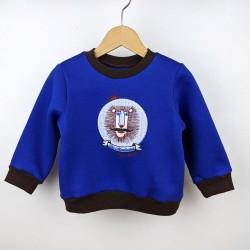 Sweat-shirt artisanal bébé fabrication française broderie lion moustaches original humoristique création bleu