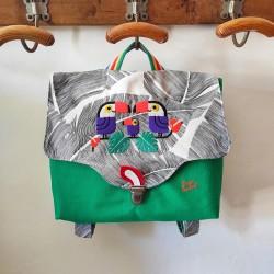 Cartable fait main famille toucan broderie family feuillage tropical vert casse-bonbons écolier français créateur