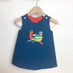 Robe bébé originale créateur réversible brodée artisanale oiseaux