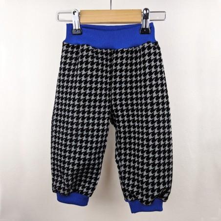 Pantalon bébé original créateur Casse bonbons pied de poule bleu