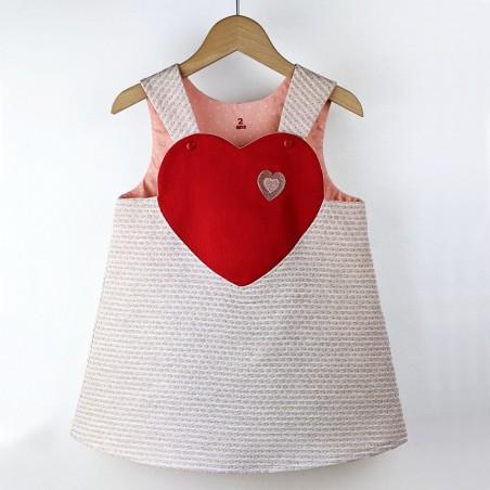 Robe bébé créateur originale mignonne tablier coeur made in France